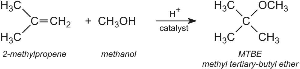 The catalyst is an anionic ion-exchange resin and the reaction is carried  out at ca 340-360 K and 8 atm pressure, with methanol in excess.