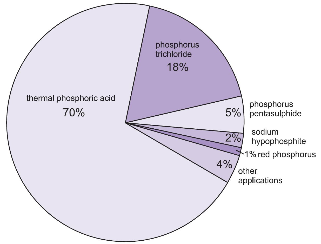 Phosphorus a pie chart showing the uses of phosphorus of which the manufacture of phosphoric acid nvjuhfo Gallery