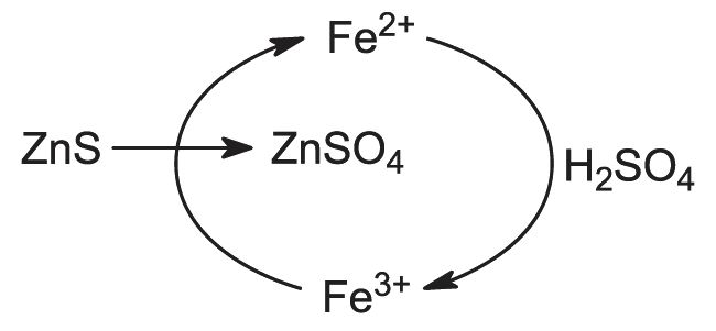 Zinc diagram showing the role ironii ions in the conversion of zinc sulfide to ccuart