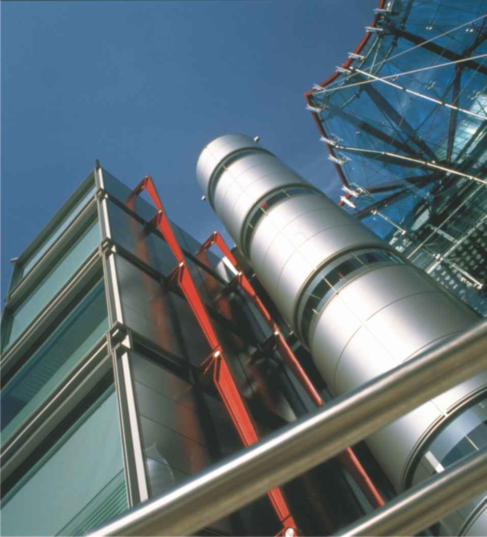 A photograph of the Channel Four headquarters in London, designed by Sir Richard Rogers.  The building is clad in PVDF, polyvinylidene fluoride, made using hydrogen fluoride.